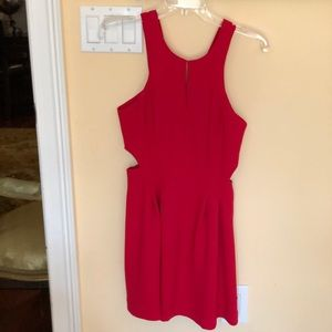 Red cocktail dress with cutouts